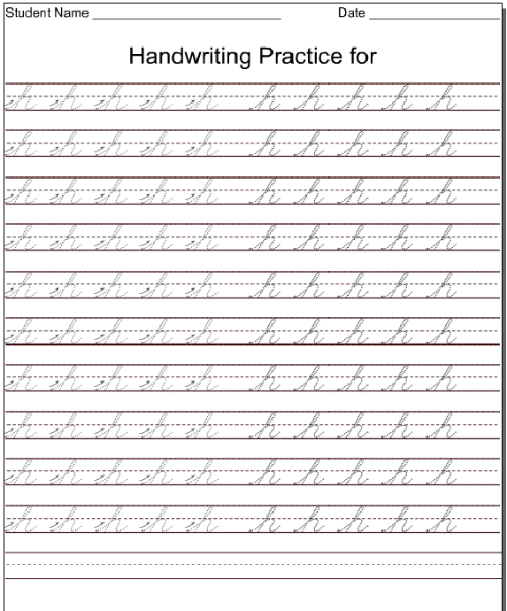 Cursive Worksheets For Kindergarten