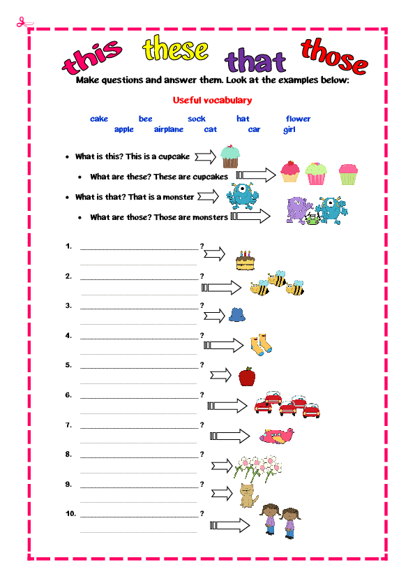 Demonstrative Adjectives Worksheet 670695