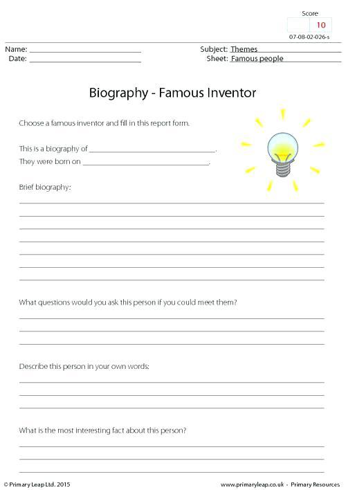 Design A Sport Worksheet Activity Sheet Inventor Fact Inventors