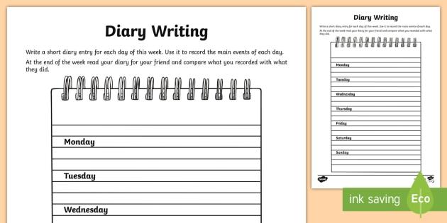 Diary Writing Worksheet   Activity Sheet