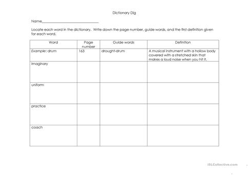Dictionary Dig Worksheet