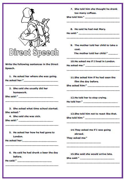 Direct Speech Intermediate Worksheet