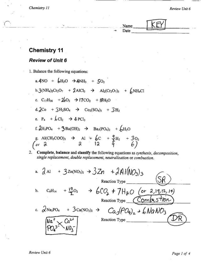 Double Replacement Reaction Lab Worksheet Answers 1322487