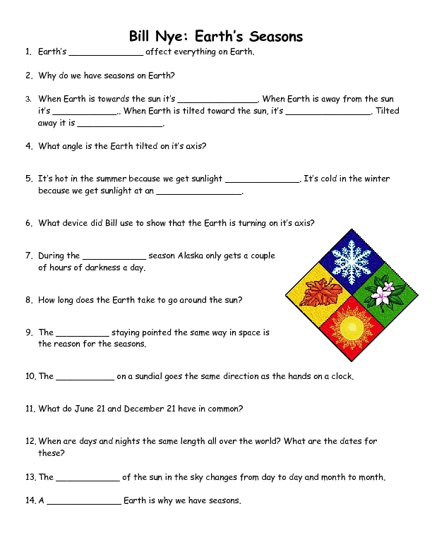 Earth Seasons Worksheet