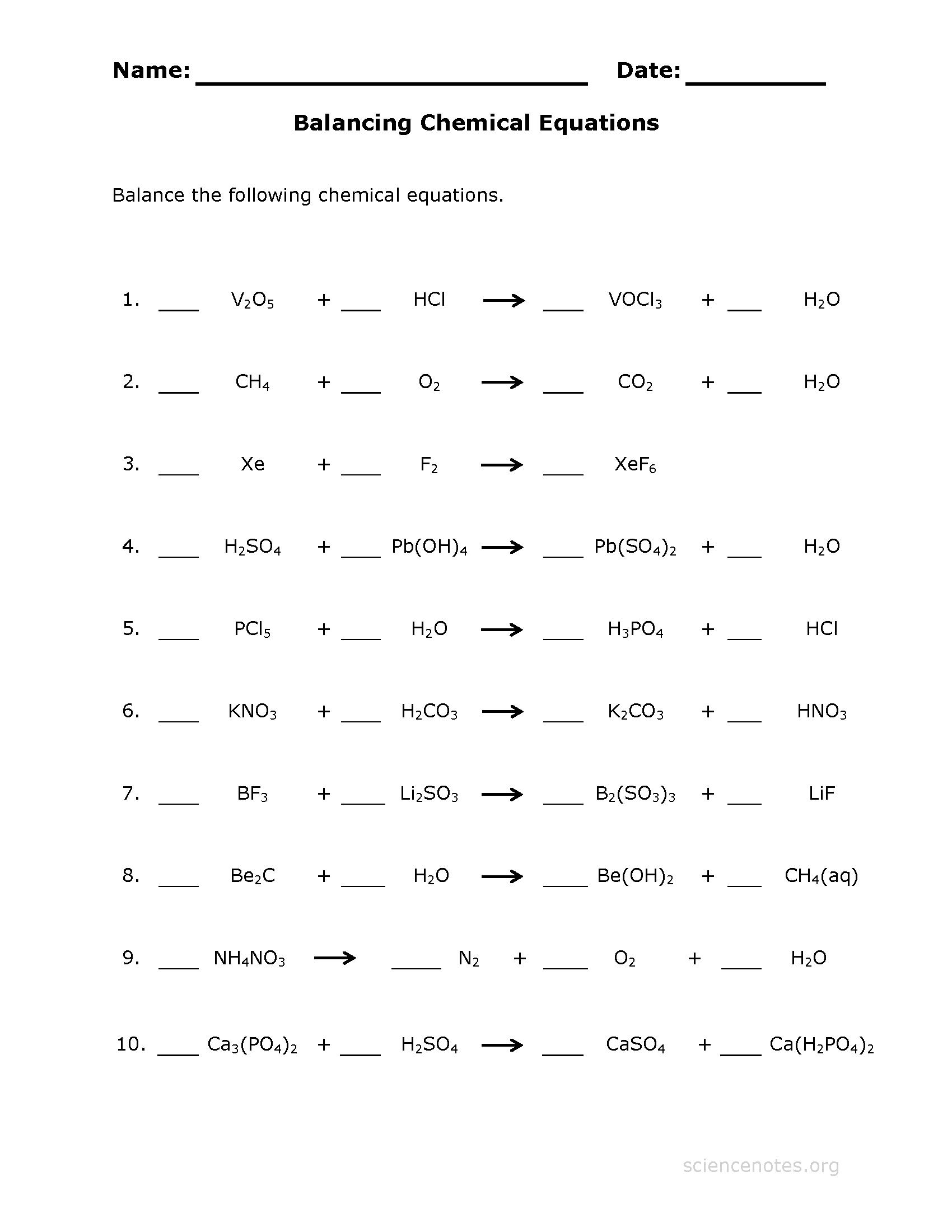 Easy Balancing Chemical Equations Worksheet 107780