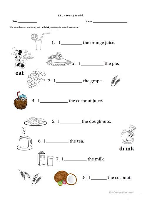 Eat Or Drink Worksheet
