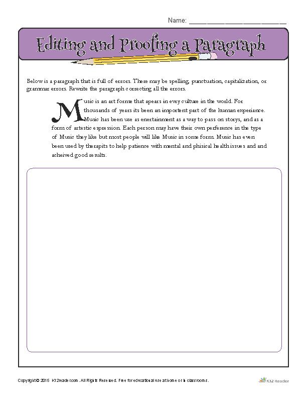 Editing Worksheets 8th Grade
