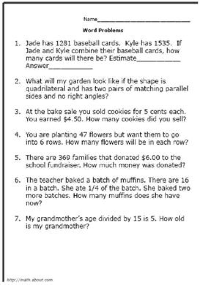 Elementary Math Problem Solving Worksheets 878391