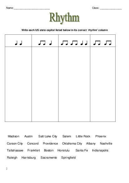 Elementary School Music Worksheets Worksheets For All