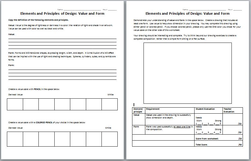Elements And Principles Of Design Worksheet The Best Worksheets