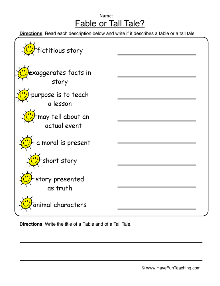 Elements Of A Story Worksheets 1368896