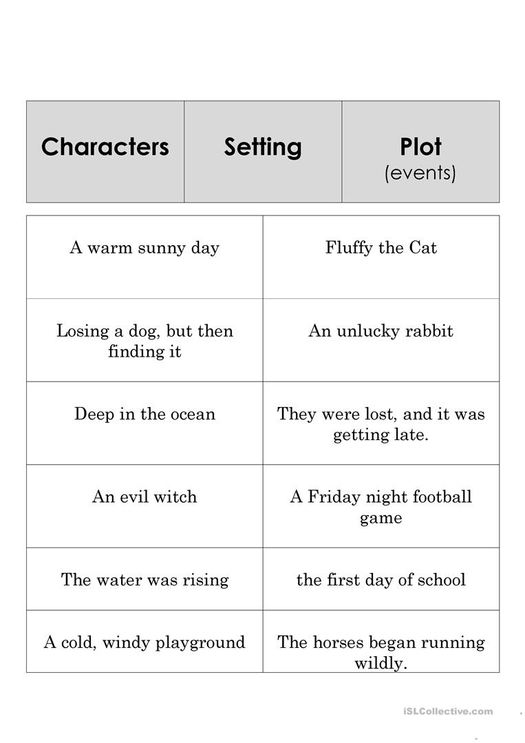 Elements Of A Story Worksheets 1368926