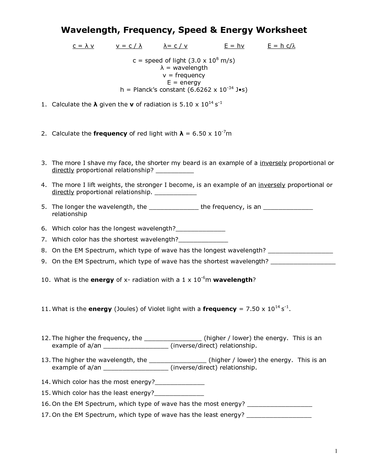 Energy Worksheet Category Page 13
