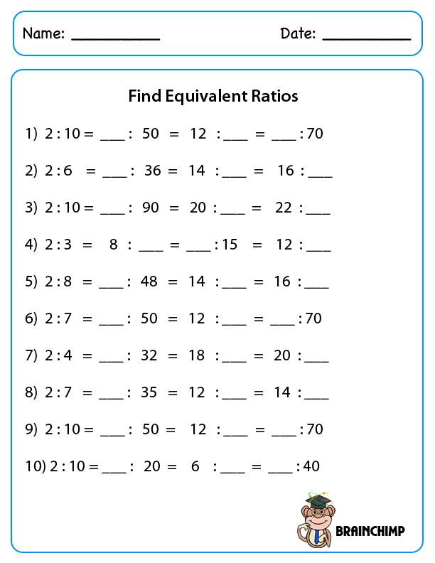 Equivalent Ratios Worksheets 1247644