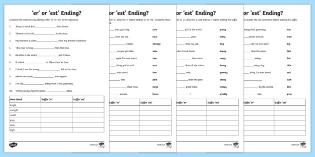 Er Or Est Worksheet