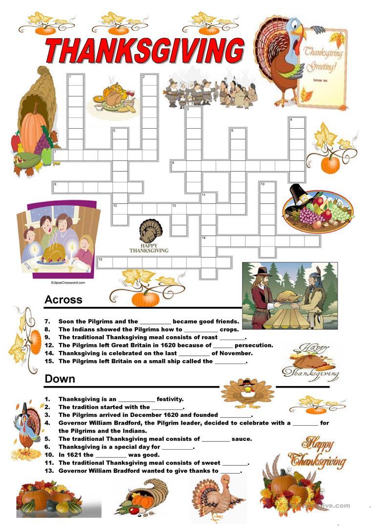 Esl Thanksgiving Worksheets 751063
