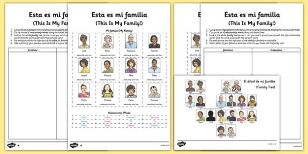 Esta Es Mi Familia Spanish Worksheet   Activity Sheet