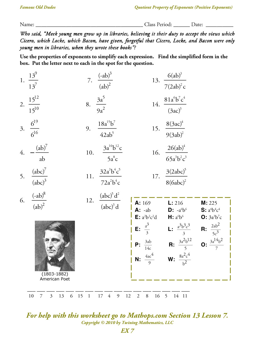 Exponent Properties Worksheet On Properties Of Exponents Worksheet