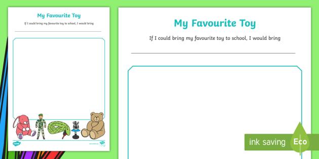 Eyfs My Favourite Toy Worksheet   Activity Sheet