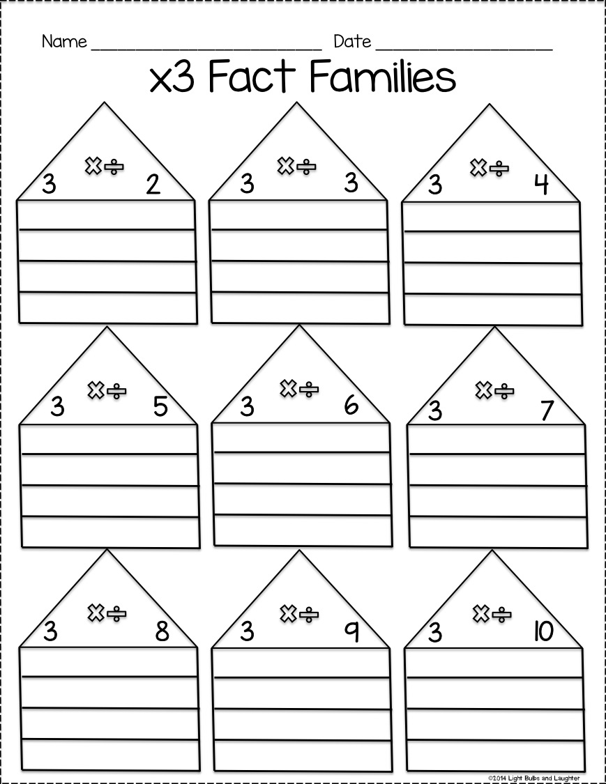 Fact Family Worksheets Multiplication Division Free 927739