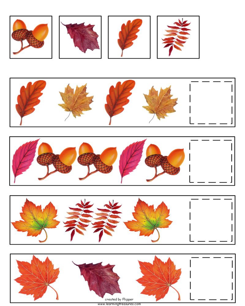 Fall Pattern Worksheets For Preschool 8944