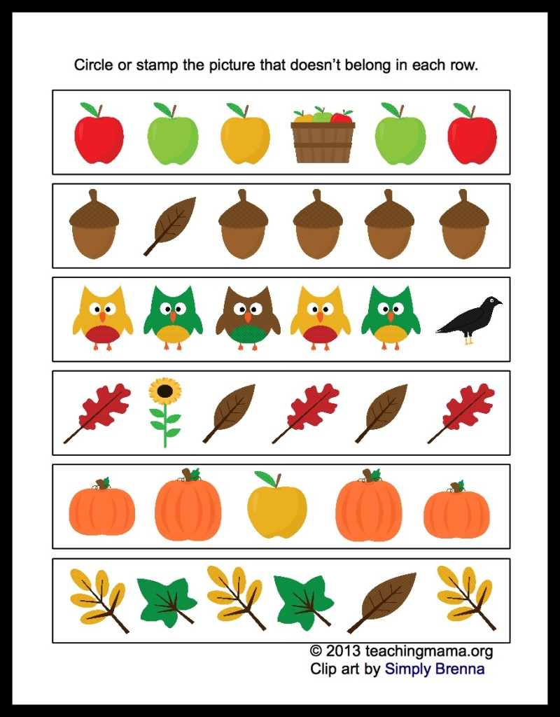 Fall Worksheets For Preschool 341453
