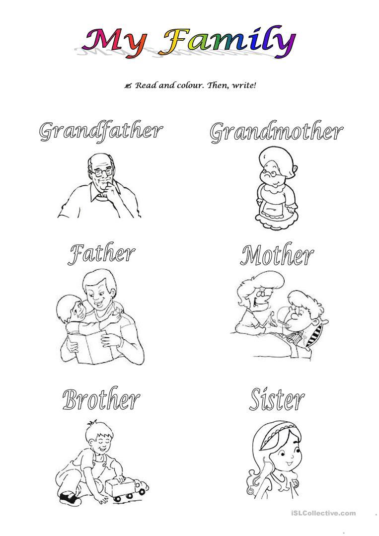 Family Worksheets For Kindergarten Esl 1264129