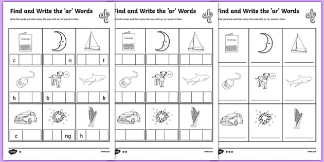 Find And Write The Ar Words Differentiated Worksheet   Activity