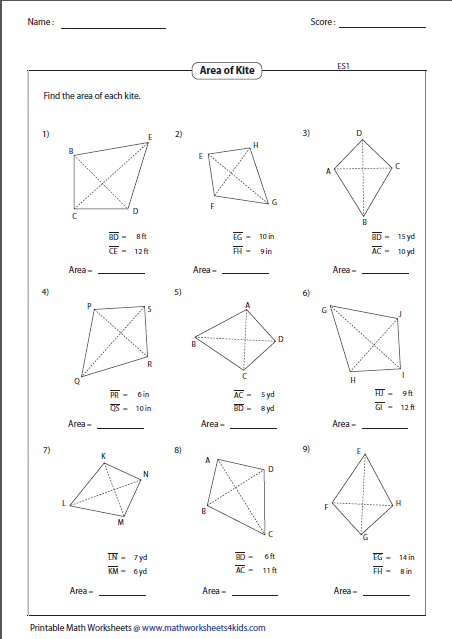 Find The Area Of Each Kite