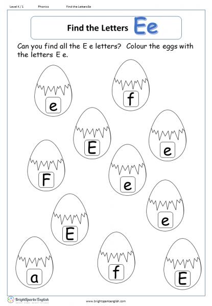 Find The Letter E Worksheet – English Treasure Trove