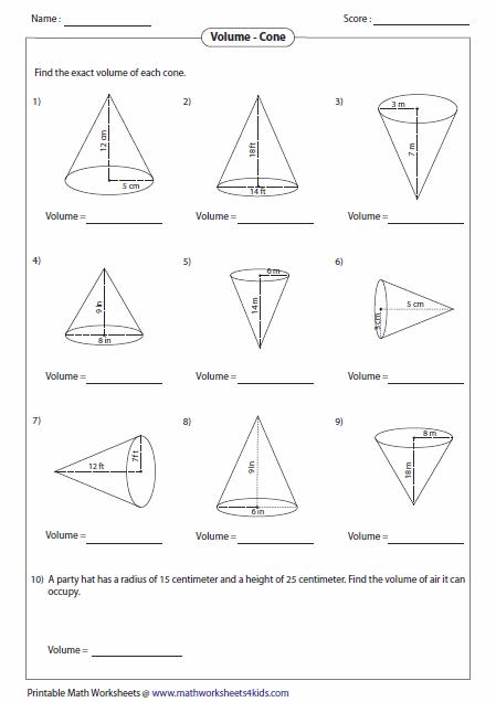 Find Volume Of Cone