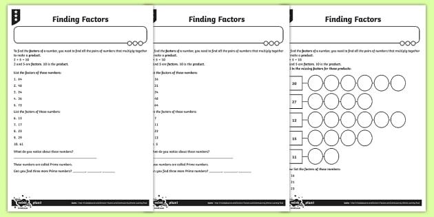 Finding Factors Worksheet   Activity Sheets
