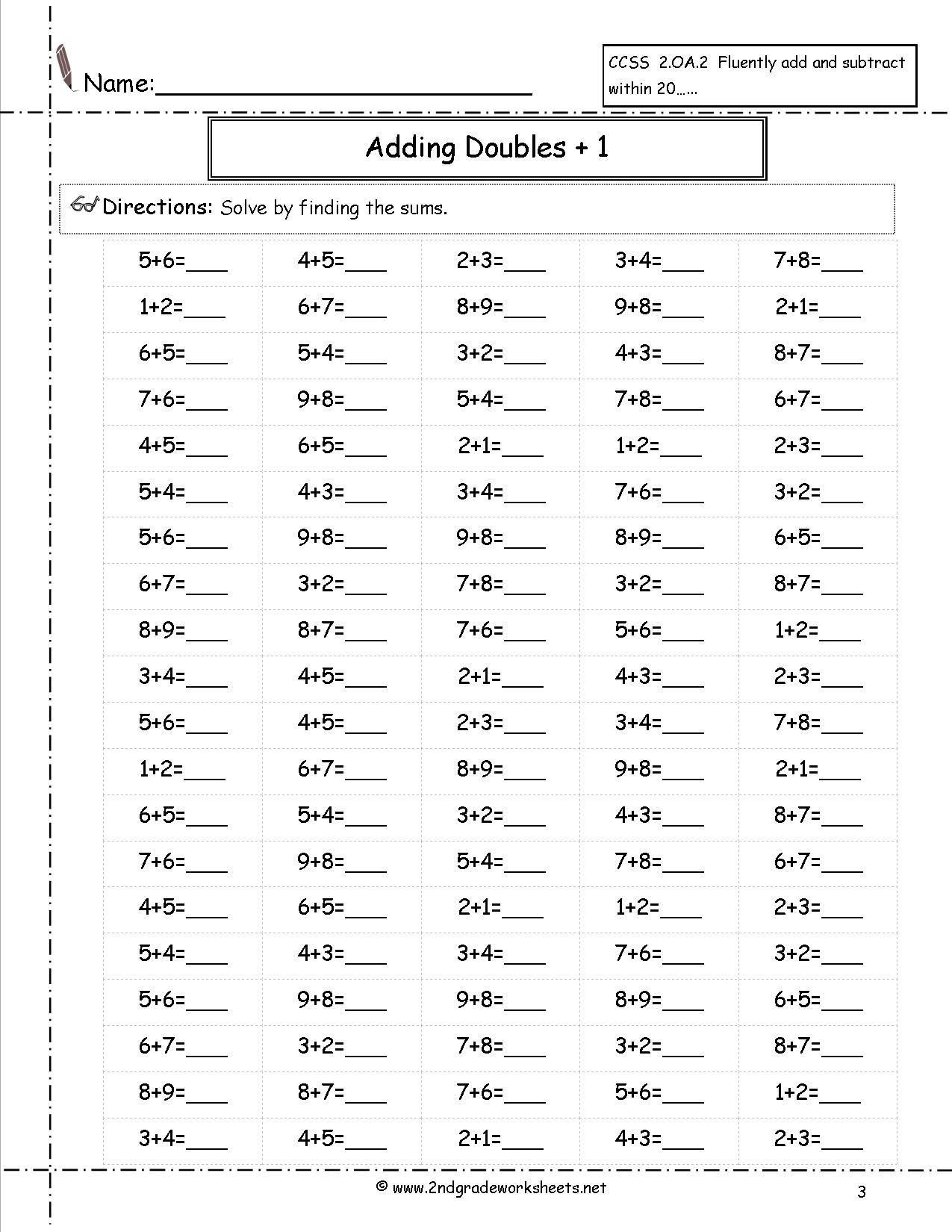 First Grade Math Worksheets Doubles Plus One 616638