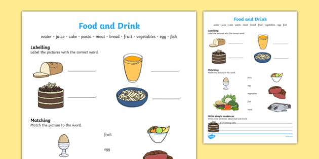 Food And Drink Worksheet   Activity Sheet, Worksheet