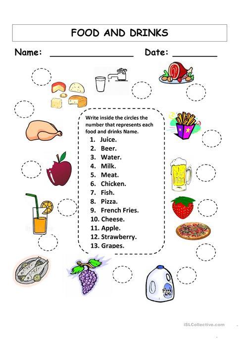 Food And Drinks Worksheet