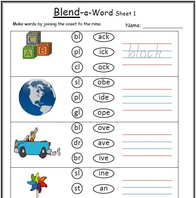 Free Consonant Blend Worksheets For Kindergarten