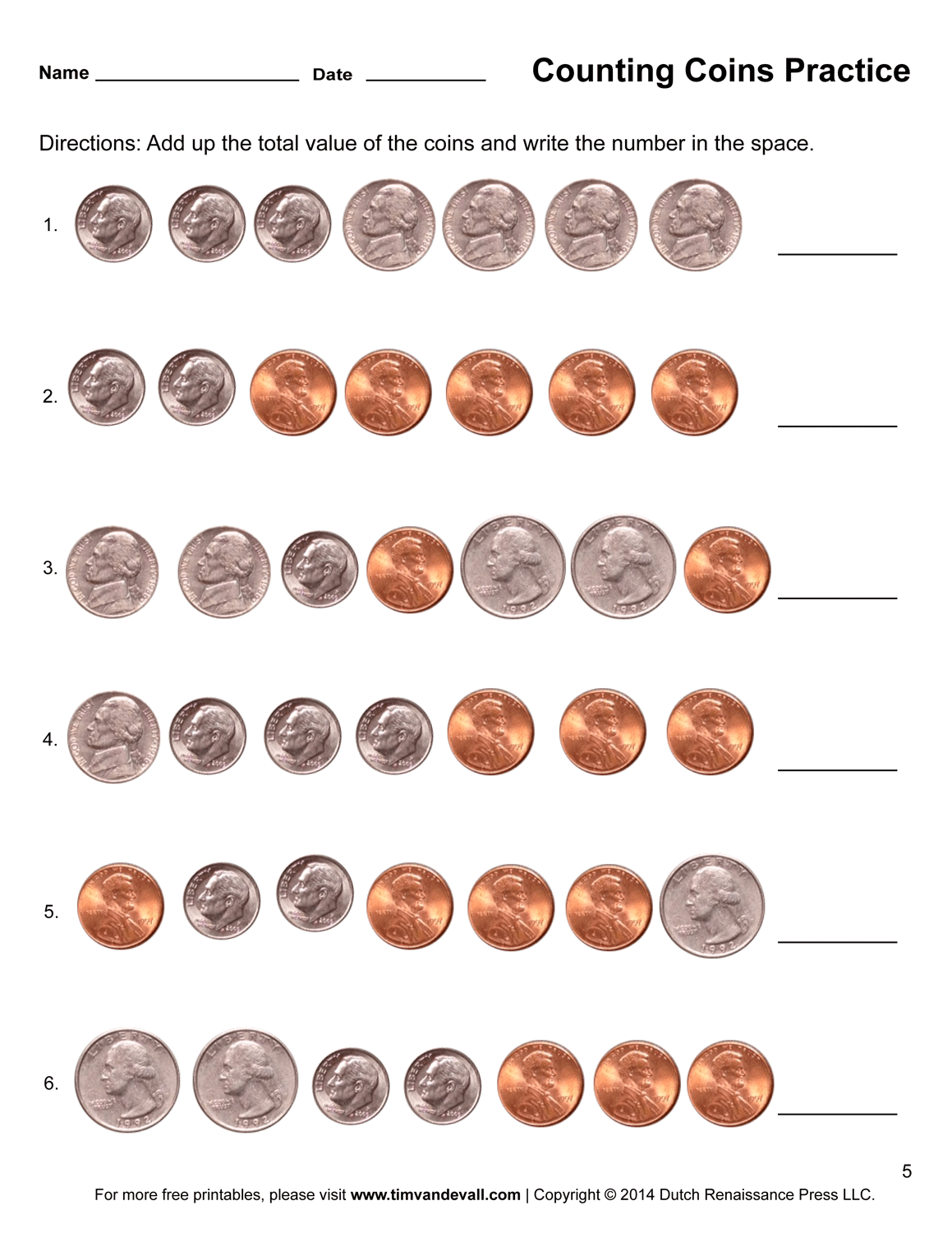 Free Counting Pennies Worksheets For Kindergarten 1231218