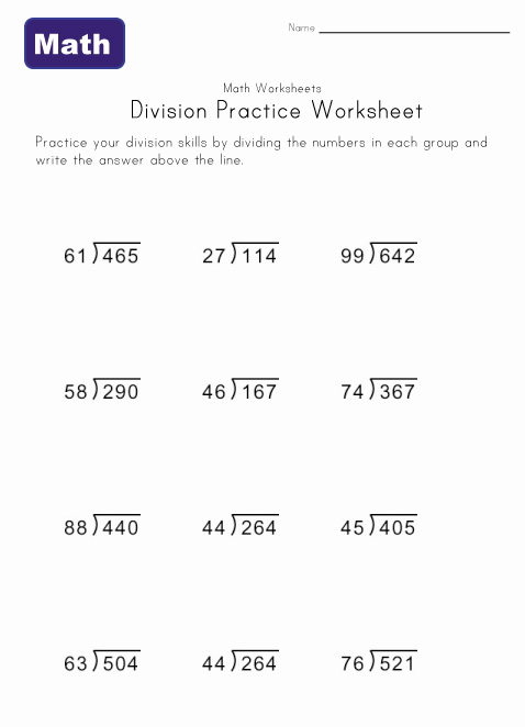 Free Division Without Remainder Worksheets  938573