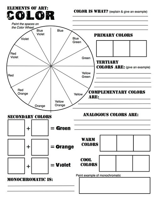 Free Elements Of Art  Color Wheel Worksheet And Lesson!