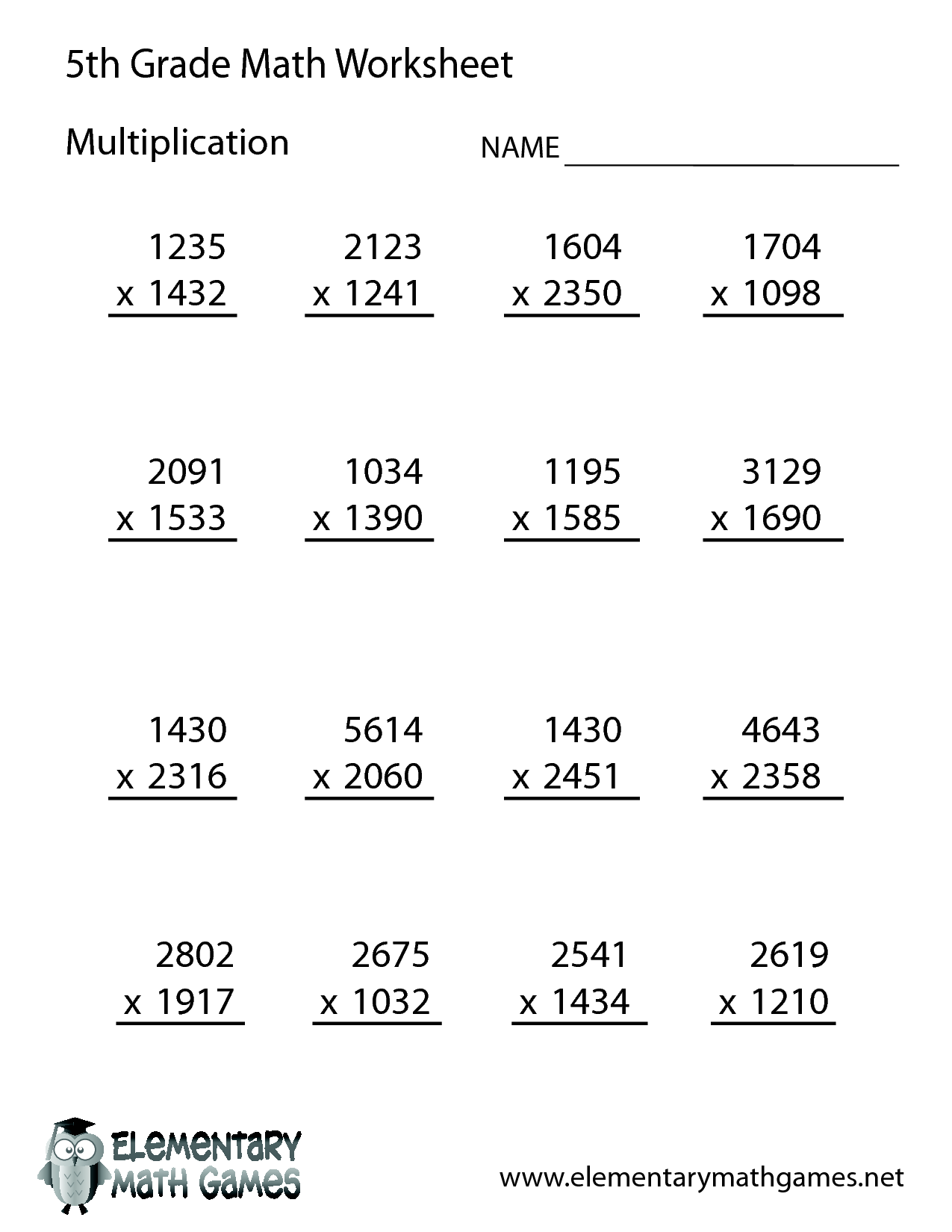 Free Math Printable Worksheets For 5th Grade 817032