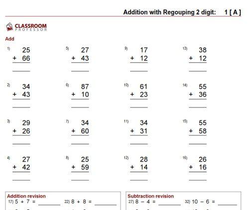 Free Math Worksheets  Adding 2