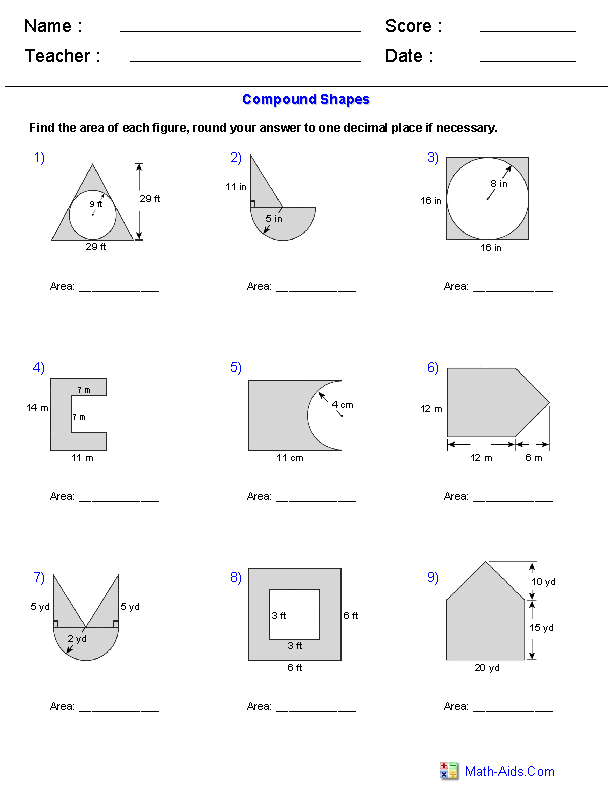 Free Math Worksheets Area Of Composite Shapes  730121