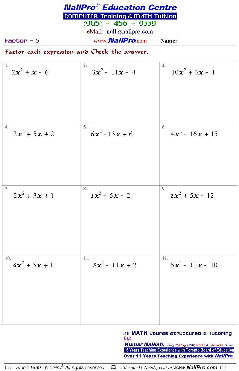 Free Math Worksheets For 10th Grade 1228235