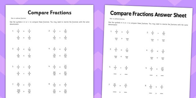 Free Math Worksheets On Comparing Fractions 1283992