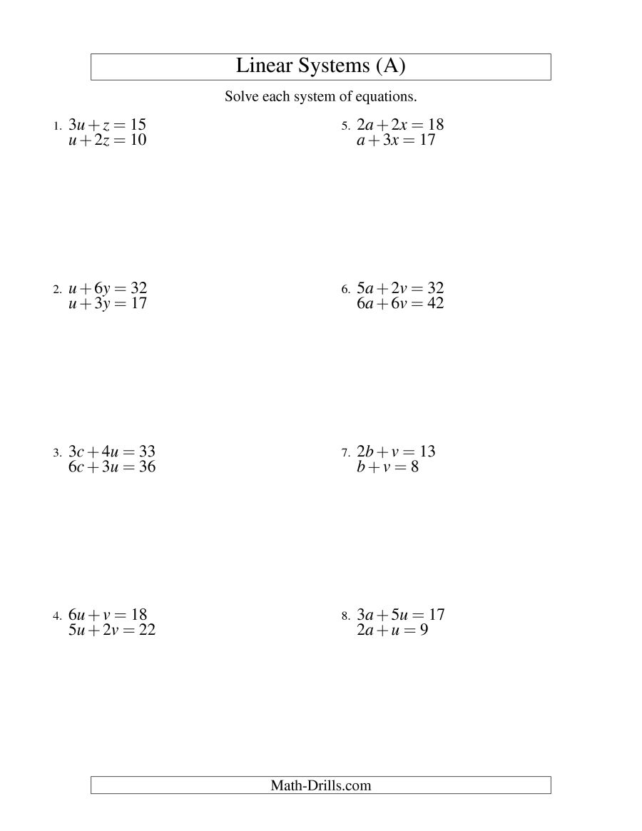 Free Math Worksheets Systems Of Equations 570768