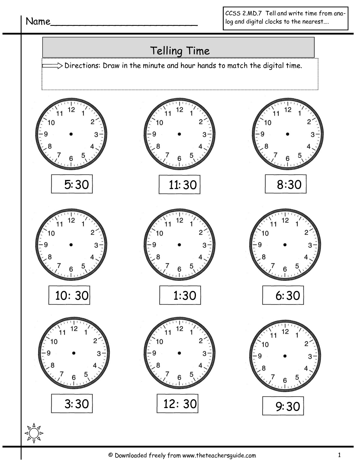 Free Math Worksheets Time To The Half Hour 697617