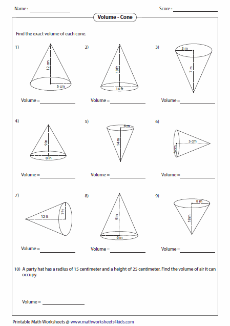 Free Math Worksheets Volume Of A Cylinder 720001