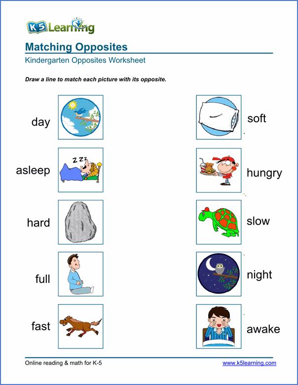 Free Preschool Kindergarten Opposites Worksheets Printable For