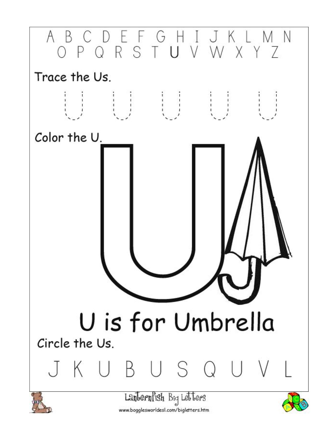 Free Preschool Worksheets Letter U 649342