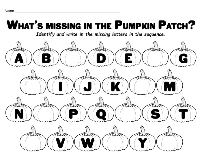 Free Printable Alphabet Worksheets Missing Letters In The Pumpkin